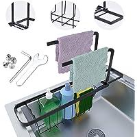 EVILTO Support D'évier Télescopique Acier Support Rangement Rack Stockage Éponge avec 2 Barres Lingette Support Vidange…