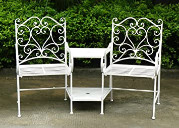 charles bentley garden heart shaped wrought iron companion seat metal love seat white