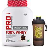 GNC Pro Performance 100% Whey Protein - 2 kg (Chocolate Fudge) with Free Shaker