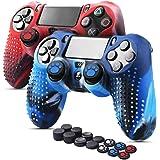 6amLifestyle Cover Skin Controller PS4 Dualshock in Silicone Antiscivolo, 2 Cover Controller PS4 (Rosso + Blu) + 14 Gommini p