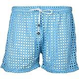Kaerm Mens See Through Hollow Out Openwork Drawstring Lounge Boxer Shorts Underwear Swim Trunks