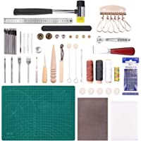 Malayas 44Pcs Outils de Maroquinerie Kit Couture Cuir Bricolage pour Débuter Travail du Cuir Outillage d' Artisanat…