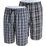 IDORIC Men's Pyjama Bottoms — 100% Woven Soft Cotton Plaid Check Lounger Sleeping Pajama Shorts with,Pockets 2 Pack