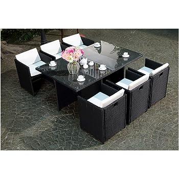 TecTake Salon de jardin 8+1 TABLE DE JARDIN EN RESINE TRESSEE ...