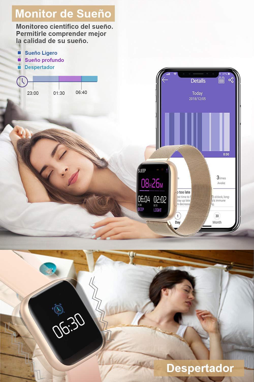 BANLVS Smartwatch, 1.4 Inch Reloj Inteligente IP67 con Pulsómetro Presión Arterial, Monitor de Sueño Podómetro Contador de Caloría, Smartwatch Mujer Reloj Inteligente para Hombre Mujer Niños 3