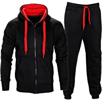 Parsa Fashions ® Mens Tracksuit Set Full Sleeve Fleece Zipper Hoodie Top Bottoms Jogging Joggers Gym CONTRAST And PLAIN…