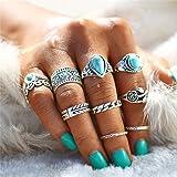 Arimy Boho Knuckle Ring Set Argento Turchese Cuore Impilabile Anelli Cavi Cavi Anelli Multi Size Accessori per Donne e Ragazz