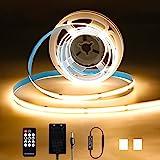 KWODE Ruban LED 2m COB, Bande LED Blanc Chaud Haute Densité Lumière Uniforme avec Télécommande, LED Ruban Chambre 12V 16W 640