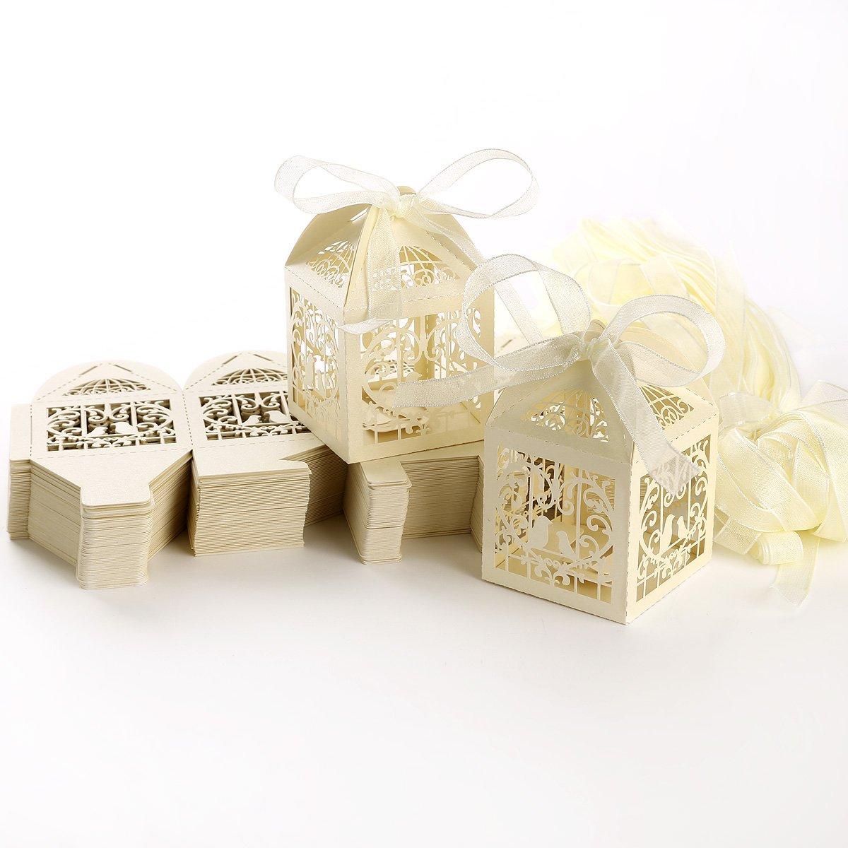100pcs Carving gabbia cartuccia Candy scatole regalo matrimonio favore Baby Shower