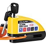 REAPP Candado Moto Disco con Alarma 110 DB, Antirrobo Moto Freno 7mm con Accesorios 1.5m Cable Recordatorio y Candado Bolsa,