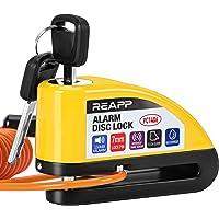 REAPP Bloque Disque Moto Alarme 110db Antivol Moto, Alarm Disc Lock Electrique avec 1.5m Câble Rappel, 1 Piles Rechange…