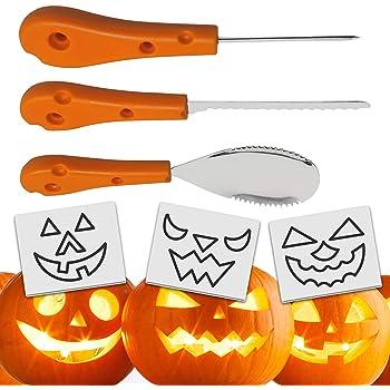 THE TWIDDLERS Kit da Intaglio per Zucca in Acciaio Inox con 3 Pezzi pour  Halloween ( 6be6f6a6d85e