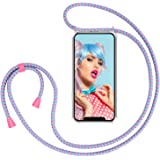"""ZhinkArts Handykette kompatibel mit Apple iPhone X/iPhone XS - 5,8"""" Display - Smartphone Necklace Hülle mit Band - Handyhülle Case mit Kette zum umhängen in Bubble Gum"""