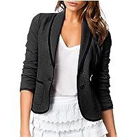 Cantissa Women's Solid Color Front Open Pocket Cardigan Formal Wear Long Sleeve Top Coat Short Suit, Jacket, Business…