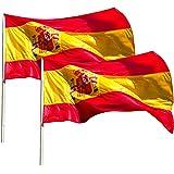 KliKil Vlag Spanje groot – set met 2 vlaggen – vlag Spaans van buitenstof, weerbestendig 150 x 90 cm met 2 metalen ogen, Spaa