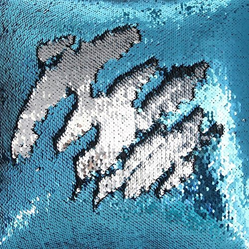 TRLYC 20ft by 10ft Turquoise and Silver Two Color Turned Baby Shower Sequin Photography Backdrop