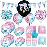 Amycute 138 PCS Kit Festa per Baby Shower Gender Reveal Party, con Tazze, Piatti, tovaglioli, Palloncini in Lattice, coriando
