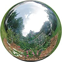 HomDSim 12 cm/4.7 inch Diameter Gazing Globe Mirror Ball,Silver Stainless Steel Polished Reflective Smooth Garden Sphere,Colorful and Shiny Addition to Any Garden or Home