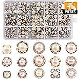 Yeelua 150 Bottoni con Perle Finte da 8 a 10 mm, Bottoni da Cucito Vintage, in Resina Bianca, per Artigianato, Vestiti, Cappo