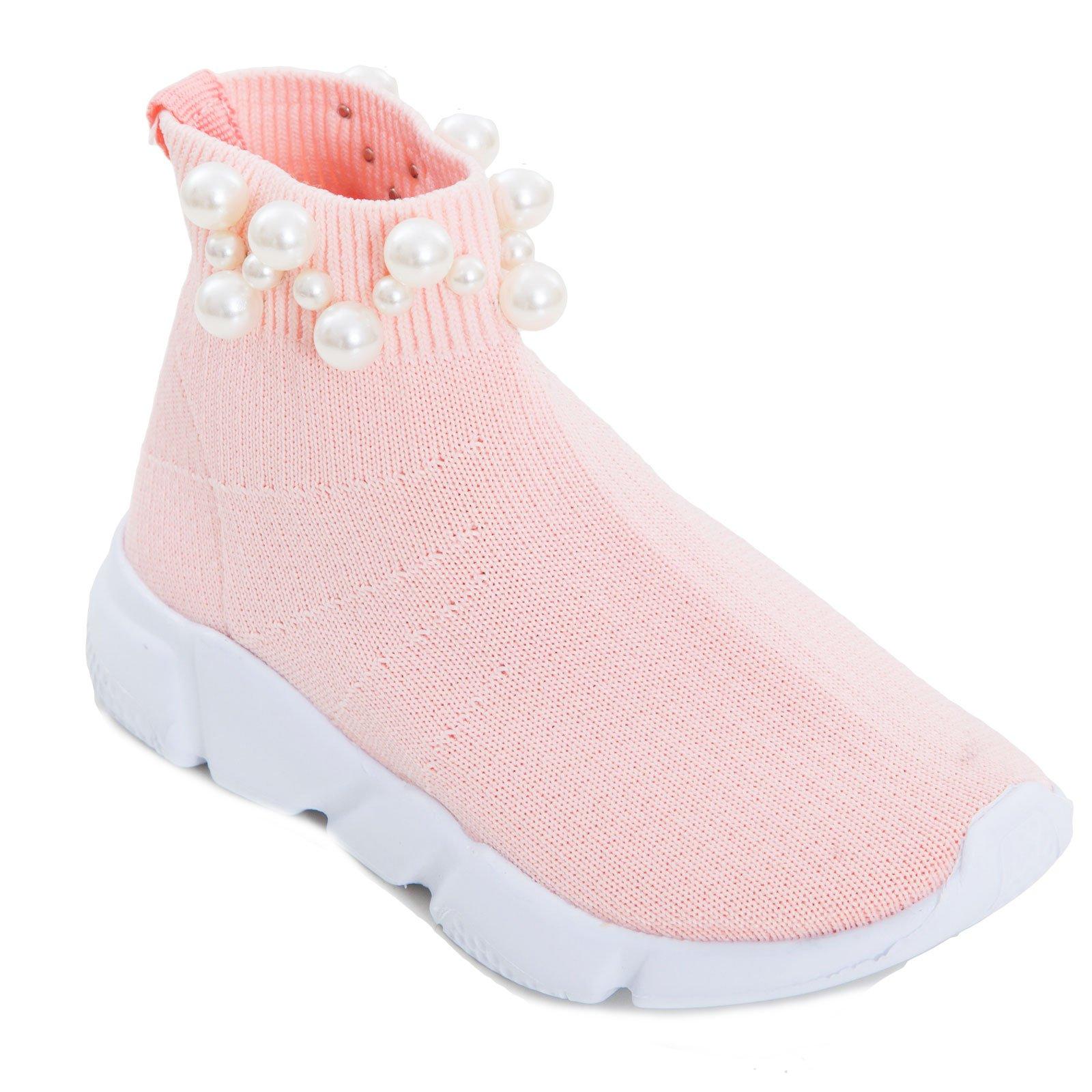fe10e45a281141 Toocool – Scarpe Bimba Bambina calzino Perle Sport Tessuto Elastico  Sneakers Sportive 963B