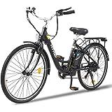 HITWAY bicicletta elettrica da città da 26 pollici con motore da 250 W, cambio a 7 velocità, e-bike Pedelec con batteria al l