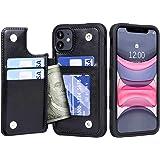 Migeec Coque iPhone 11 - Housse en Cuir PU [Antichoc] Housse de Protection arrière Etui pour iPhone 11 - Noir
