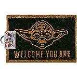 Fußmatte - Star Wars - Welcome You Are | Yoda Fußmatte | Fußabtreter Haustür | Türvorleger mit Motiv | Schmutzmatte Eingangsbereich | Geschenk für Männer | Star Wars Fussßmatte | Abtretter | Abtrettmatte