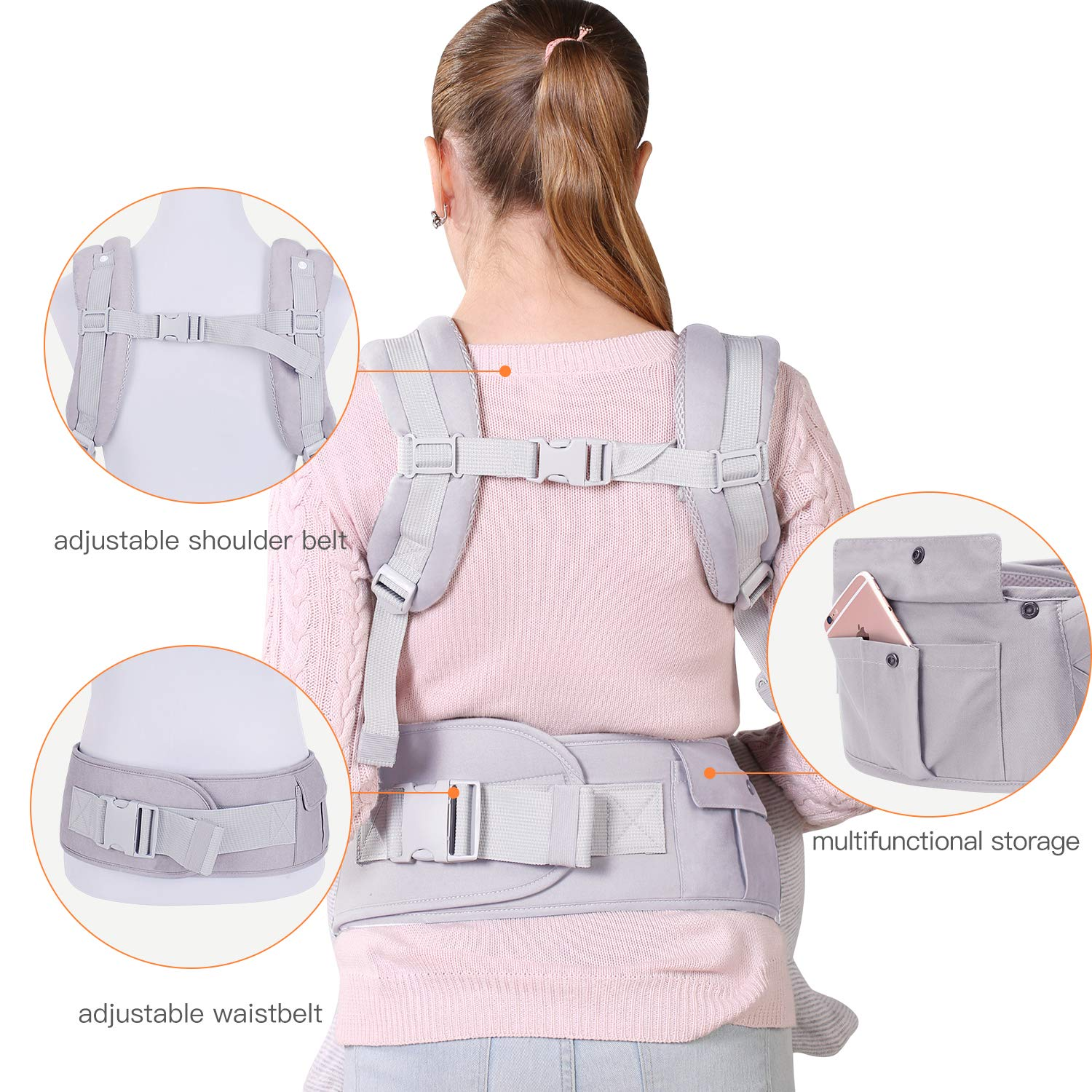 Baby Carrier with Adjustable Hip Seat/&Hood for Infant to Toddler,Ergonomic /& Convertible Waist Stool Wrap,Front and Back,for 3-36months-Light Grey