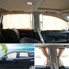 Andux Zone Auto Seite Fenster Vorhang Baumwolle Sonne Schatten 1 Paar PBCL-01 (Beige, 50S)