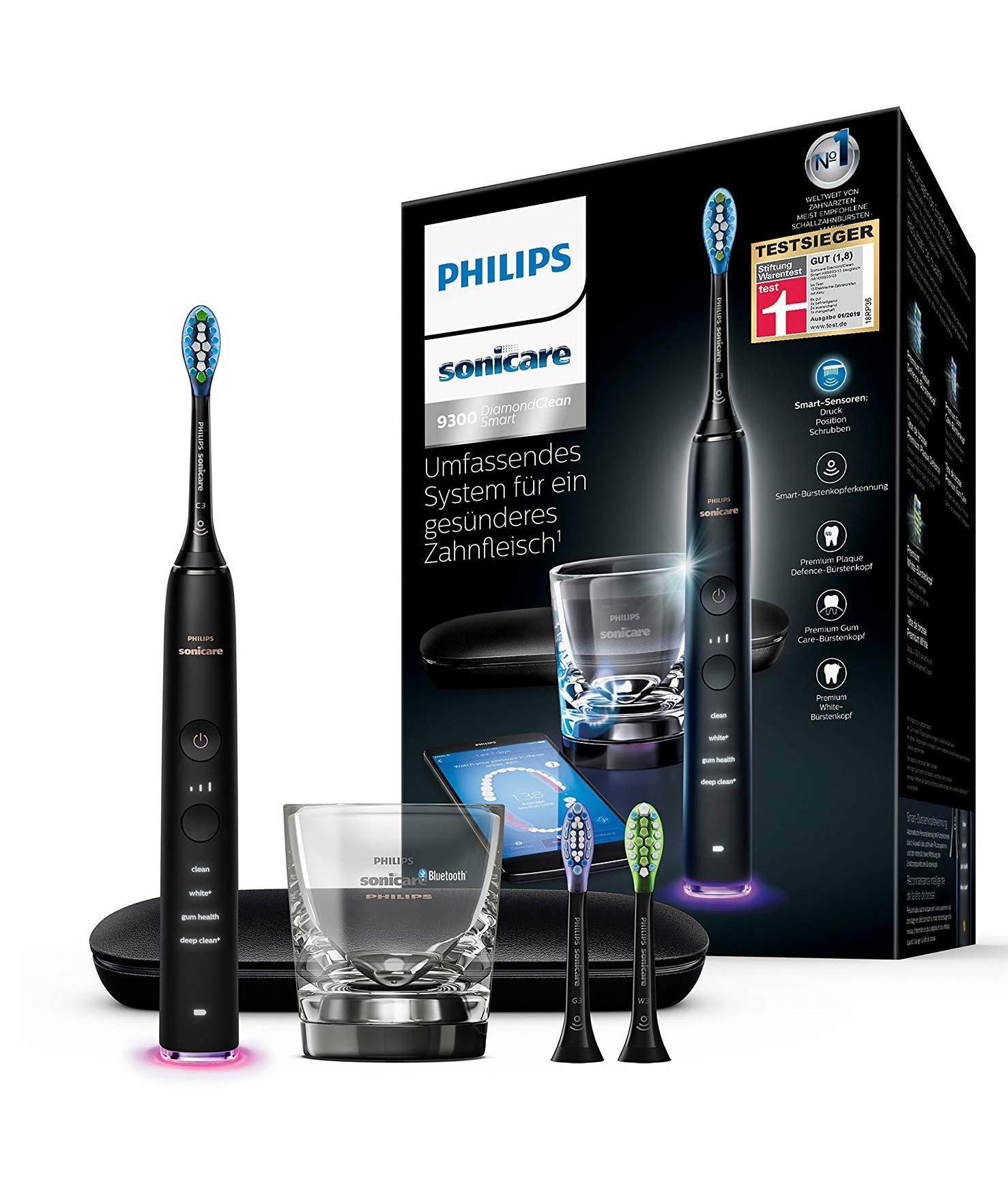 Philips Sonicare HX9903/13 DiamondClean Smart Elektrische Zahnbürste mit Schalltechnologie, Ladeglas, Reiseetui, schwarz