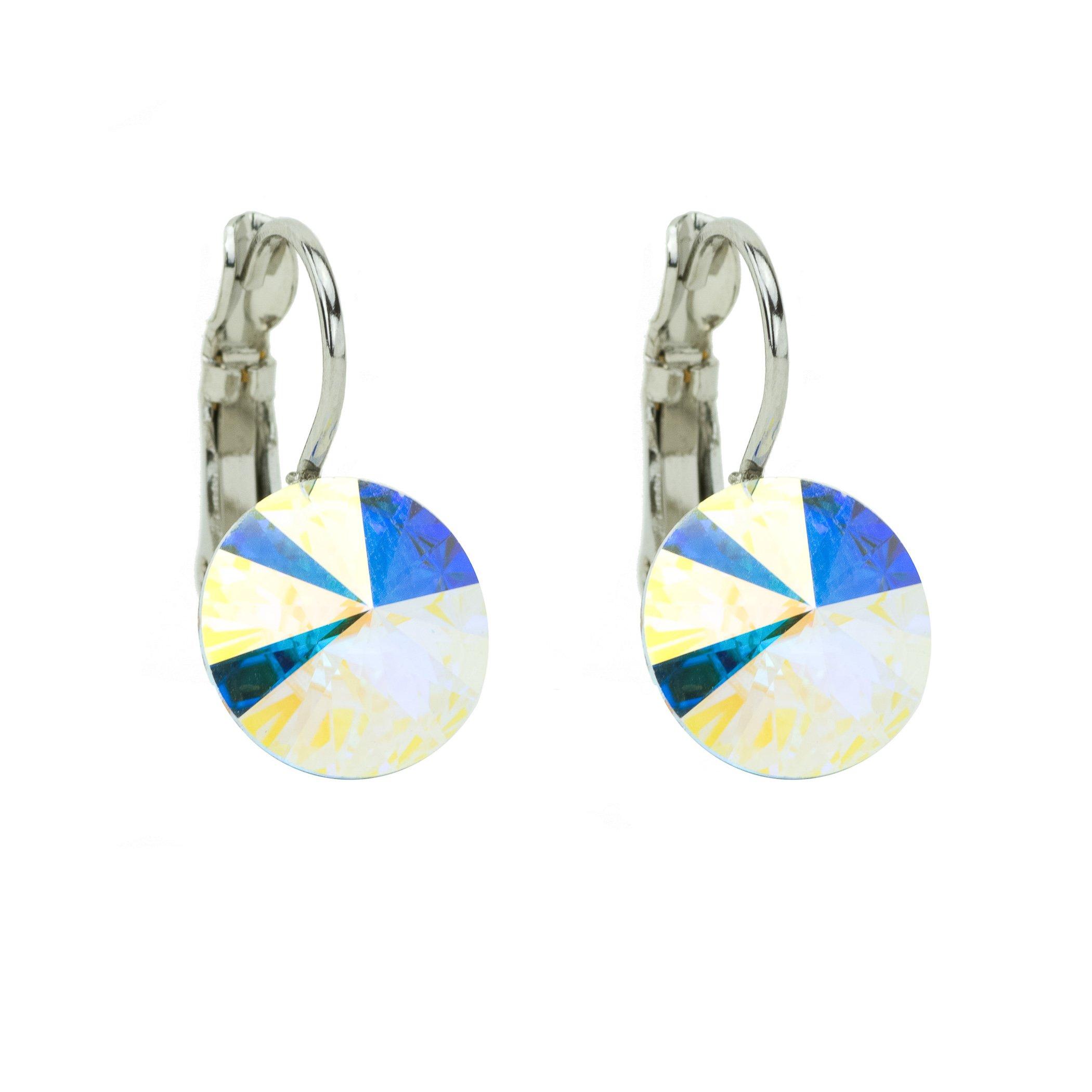Eve S jewelry orecchini da donna con Swarovski Elements Crystal AB (10mm) placcati argento rodiato