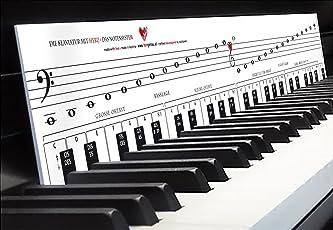 """Klavierspielen lernen mit Freude & Spaß - einfach & schnell """"TonGenau - Klaviatur mit Herz"""" Tastenschablone als Klavierschule mit Musiknoten, Notennamen und Tastenorientierung - optimale Lernhilfe für Klavier, Piano und Keyboard"""