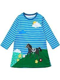 Ropa Niña Otoño Invierno,Fossen 1-6 años Niña Vestido de Fiesta Princesa Estampada