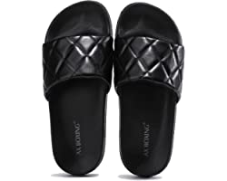 AX BOXING Women's Sliders Fashion Sandals Print Non-Slip for Beach Pool Indoor Outdoor Size 4-7