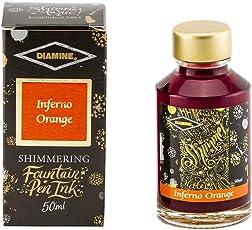 DIAMINE 50ml Inferno Orange Shimmer Ink Bottle