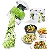Spiralschneider Hand für Gemüsespaghetti, 4 in1 Gemüse Spiralschneider, Gemüsehobel für Karotte, Gurke, Kartoffel,Kürbis, Zucchini, Zwiebel (Grünneu)