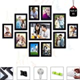 Art Street Set of 11 Individual Wall Photo Frames Wall Decor Free Hanging Accessories Included ||Mix Size||6 Unit 4x6, 4 Units 5x7,1 Unit 8x10 inches|| (Black)