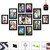 Art Street Primo Wall Photo Frame Set of 11 Black Picture Frames (Hanging Accessories Included Black_6 Unit 4X6, 4 Units…