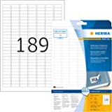 HERMA Zelfklevende verwijderbare multifunctionele etiketten, 189 etiketten per A4-blad, 4725 etiketten voor printers, klein,