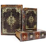 Jolitac - Set di 3 scatole decorative per libri antichi con copertina magnetica, in legno sintetico, stile vintage scuro