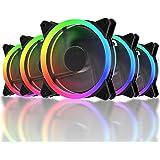 upHere RGB LED Ventilateur pour Boîtiers PC, 120mm Silencieux -avec Contrôle Télécommande- 5 Pack(RGB123-5)