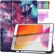 ESSTORE-EU iPad 7th Generation Case, New iPad 10.2 Case 2019 with Pencil Holder, Lightweight Smart Cover with Soft TPU Back [Auto Sleep/Wake][Screen Protector] - Galaxy