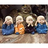 Lvi Craft Handcrafted Marble Baby Laughing Buddha Statue Home Decor Showpiece Idol (6 x 4 x 3 cm, Multicolour) - Set of 4