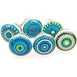 Gałka meblowa gałka meblowa zestaw 6 szt. 101GN mieszana niebieska mozaika - Jay guzik ceramika porcelana ręcznie malowane ga