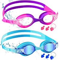 COOLOO Kids Swimming Goggles, 2 Pack Swim Goggles with Adjustable Strap for 6-14 Girls and Boys, Childrens Goggles with…