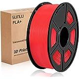 SUNLU PLA Plus rosso, filamento PLA Plus 1,75 mm, Precisione dimensionale con odore basso +/- 0,02 mm, Filamento per…