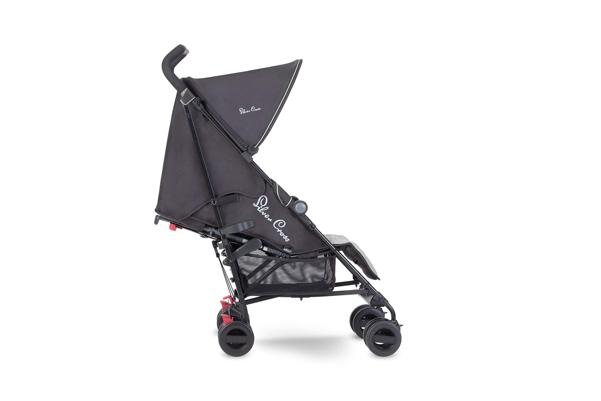 Silver Cross Zest Silver Silver Cross Ultra lightweight zest pushchair, weighing in at only 5.8kg, is suitable from birth up to 25kg It has a convenient one-hand fold, while the compact design makes it easy to store The fully lie-flat recline is best in its class 2