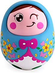 Popsugar Push and Shake Tumbler Doll with Happy Face and Sounds Toy for Kids, Blue