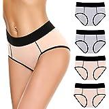 Aibrou Unterhosen Damen Baumwolle Set Unterw/äsche Hipster Damen Pantys Slip Mehrpack Taillenslips H/öschen 4er Pack