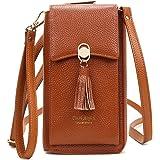 Pearl Angeli Weiches Echtes Leder Handy Umhängetasche - Handytasche Geldbörse Damen RFID Schutz kleine Crossbody Tasche Orang